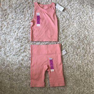 Womens Workout Set Pink Seamless Compression